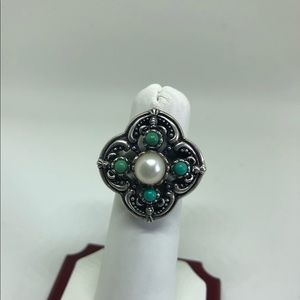 Jewelry - Sterling pearl and turquoise ring